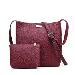 Two-piece Fashion Litchi Grain Water Bucket Female Bag -