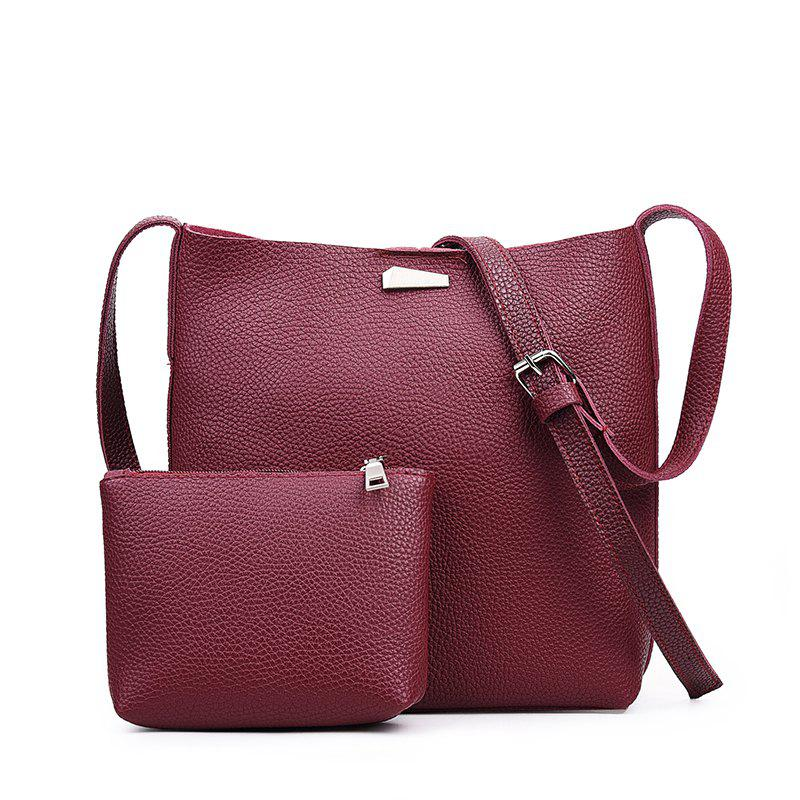 Store Two-piece Fashion Litchi Grain Water Bucket Female Bag