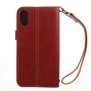 For iPhone X Case Genuine Leather Flip Cover Wallet Style Shell -