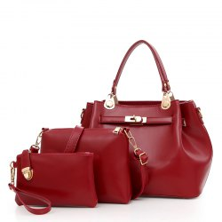 Three Pieces Lock Bag Ladies Shoulder Messenger Bag Handbag -
