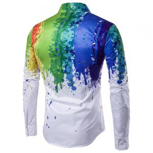 Long Sleeve 3D Splace Ink Casual Plus Size Shirt -