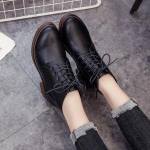 XXY8803 Comfortable Fashion Pure Color Short Cylinder with Round Head Martin Boots -