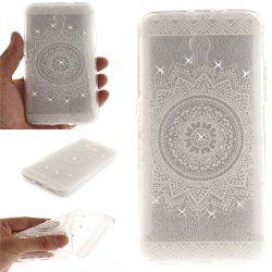 The White Mandala Diamond Soft Clear IMD TPU Phone Casing Mobile Smartphone Cover Shell Case for ZTE Blade V7 -