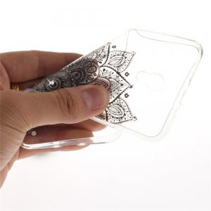 Black Half Flower Diamond Soft Clear IMD TPU Phone Casing Mobile Smartphone Cover Shell Case for ZTE Blade V7 -