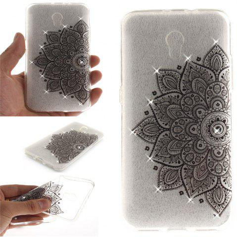 Hot Black Half Flower Diamond Soft Clear IMD TPU Phone Casing Mobile Smartphone Cover Shell Case for ZTE Blade V7