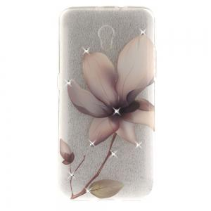 Magnolia Diamond Soft Clear IMD TPU Phone Casing Mobile Smartphone Cover Shell Case for ZTE Blade V7 -