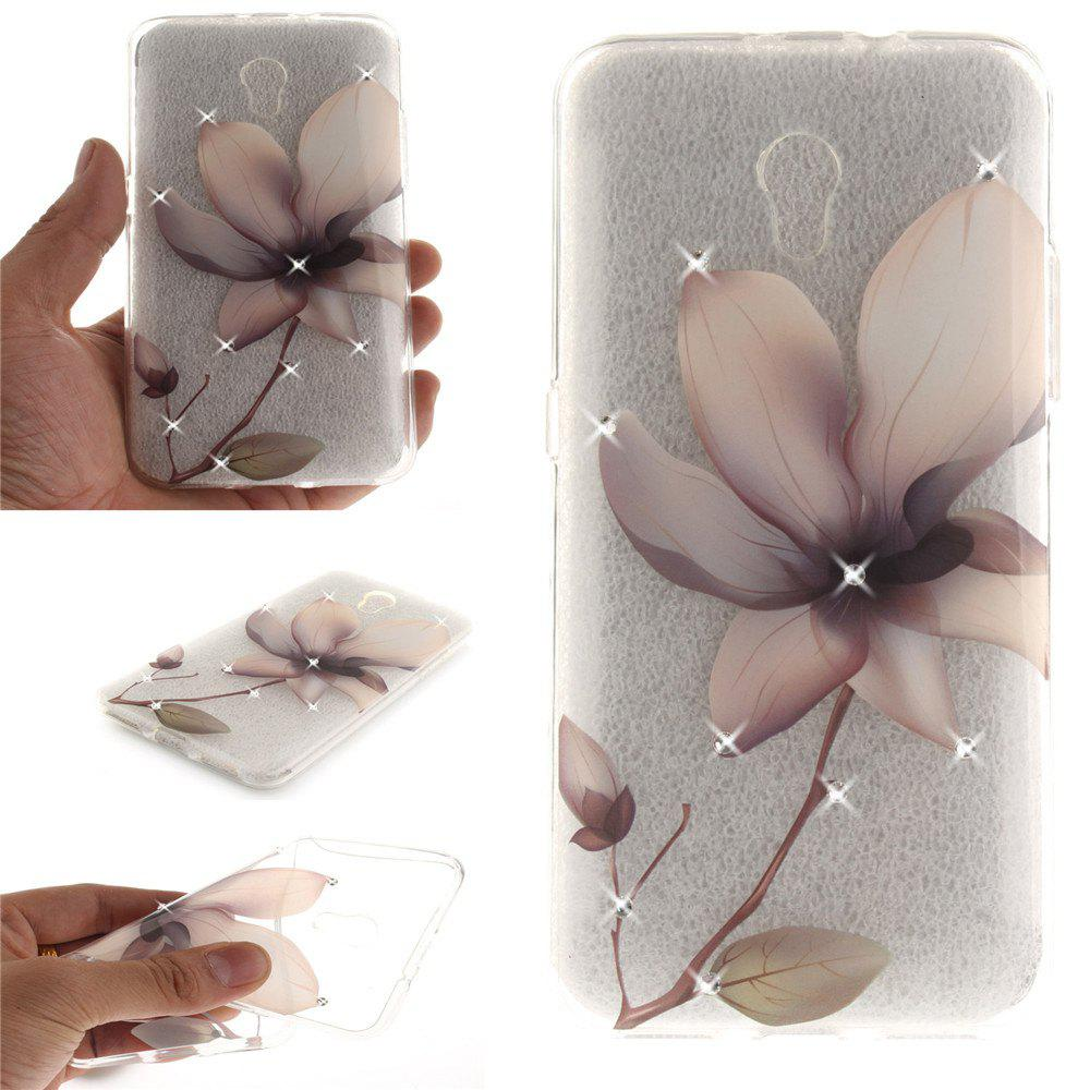 Sale Magnolia Diamond Soft Clear IMD TPU Phone Casing Mobile Smartphone Cover Shell Case for ZTE Blade V7