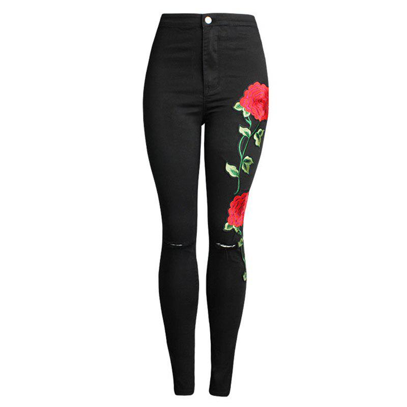 New Women's Fashion Embroidered Hole Stretch Jeans