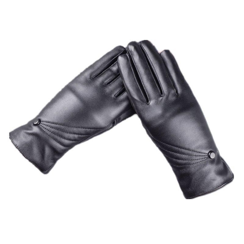 New Touch Screen Lady Warm Leather Gloves Cute Three Line Design in Autumn and Winter