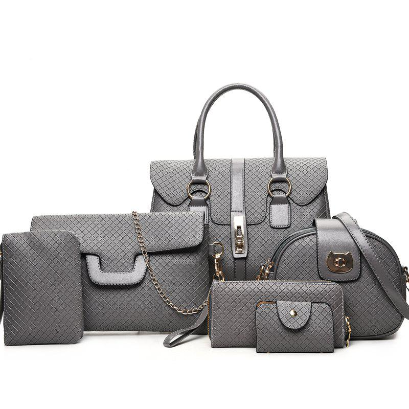 Outfit Six Woolly Fashion Small Squares Lock Button Female Package Bags