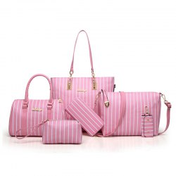 Six Woolly Fashionable Stripe Lash Package Bags -