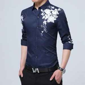 Male Rose Printed Long Sleeved Shirt -