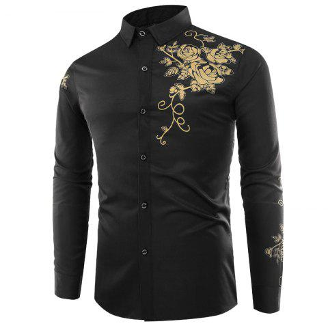 Trendy Male Rose Printed Long Sleeved Shirt