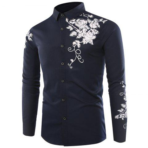 New Male Rose Printed Long Sleeved Shirt
