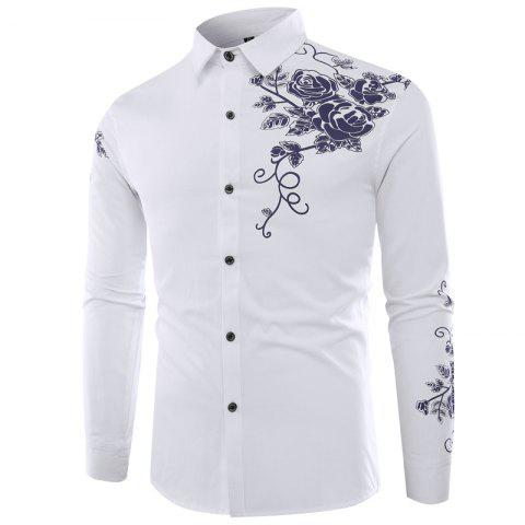 Chic Male Rose Printed Long Sleeved Shirt