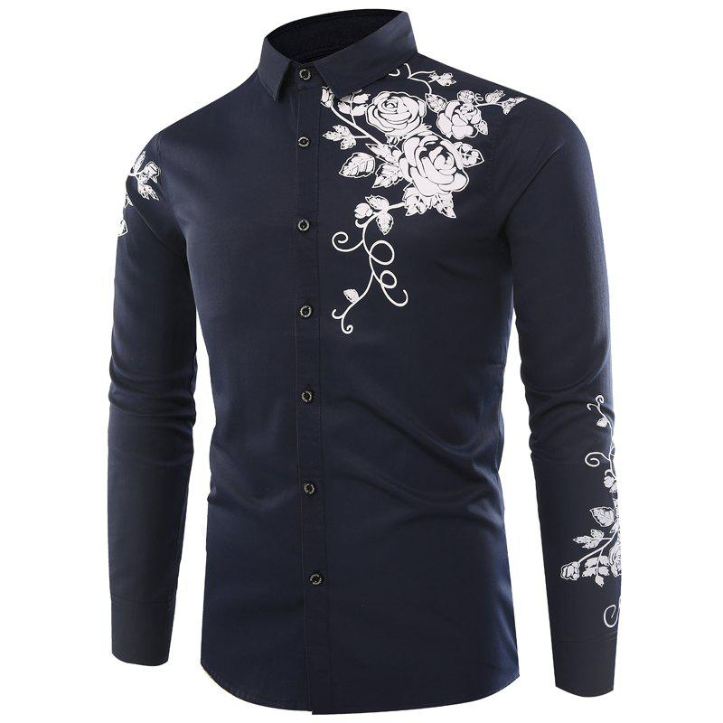 Best Male Rose Printed Long Sleeved Shirt