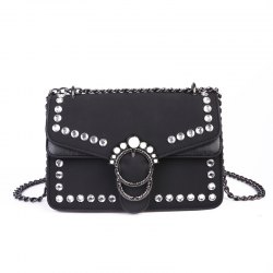 Pearl Rivets Square Package Retro Wild Shoulder Messenger Bag -