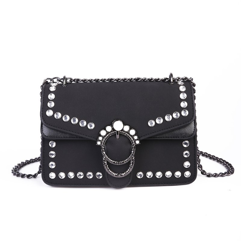 Outfit Pearl Rivets Square Package Retro Wild Shoulder Messenger Bag