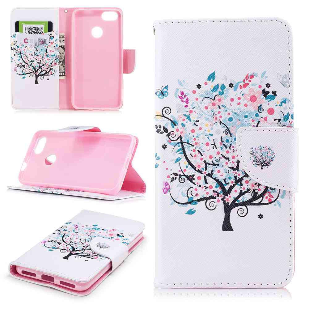 Shop Small Tree Painted PU Phone Case for HUAWEI P9 Lite Mini / Y6 Pro 2017