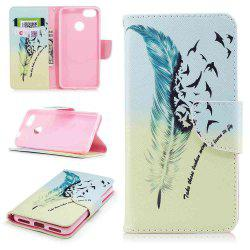 Feather Birdie Painted PU Phone Case for HUAWEI P9 Lite Mini / Y6 Pro 2017 -