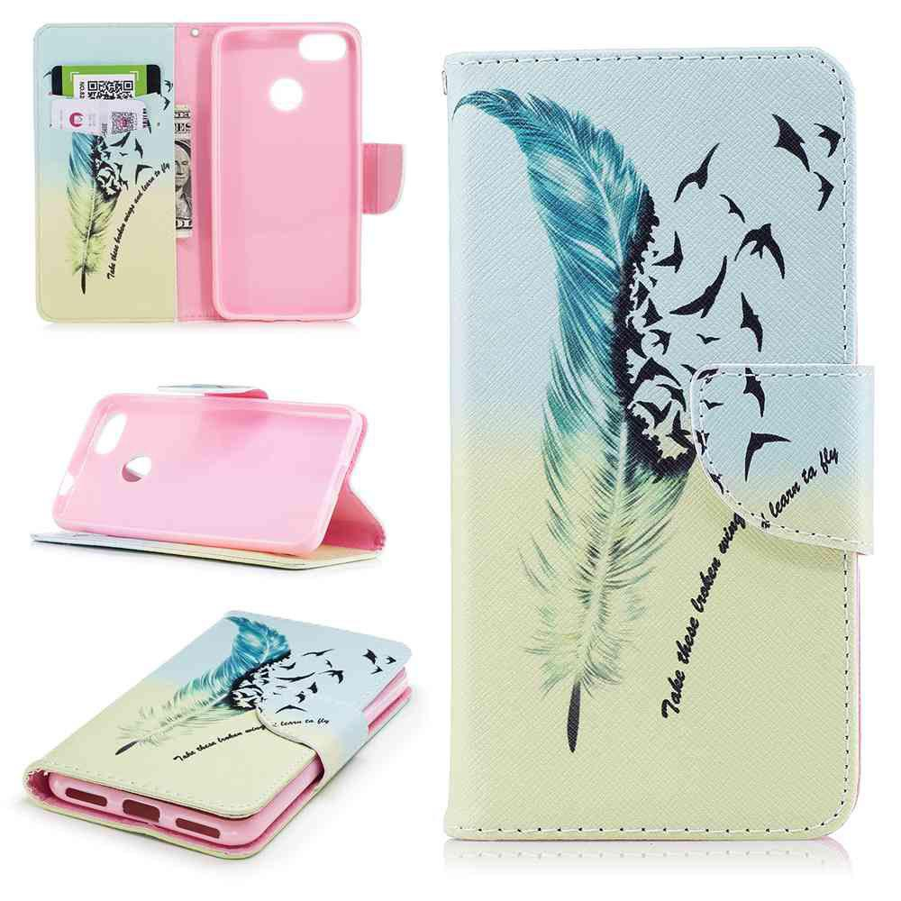 Affordable Feather Birdie Painted PU Phone Case for HUAWEI P9 Lite Mini / Y6 Pro 2017