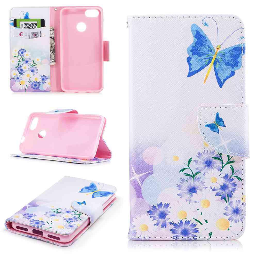 Shop Butterflies in Love Painted PU Phone Case for HUAWEI P9 Lite Mini / Y6 Pro 2017