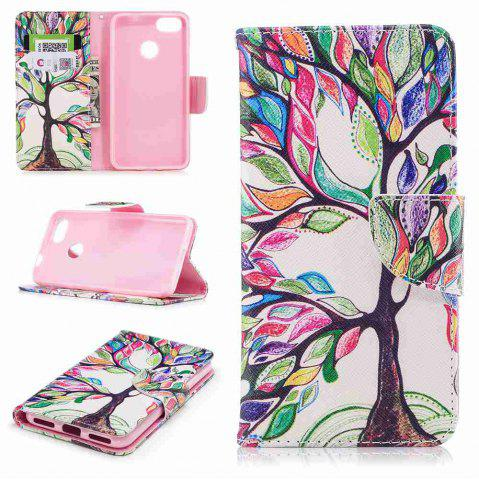 Store Colorful Tree Painted PU Phone Case for HUAWEI P9 Lite Mini / Y6 Pro 2017