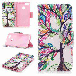 Colorful Tree Painted PU Phone Case for HUAWEI P9 Lite Mini / Y6 Pro 2017 -
