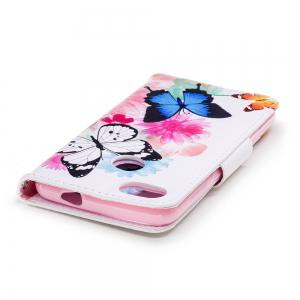 Two Butterflies Painted PU Phone Case for HUAWEI P9 Lite Mini / Y6 Pro 2017 -
