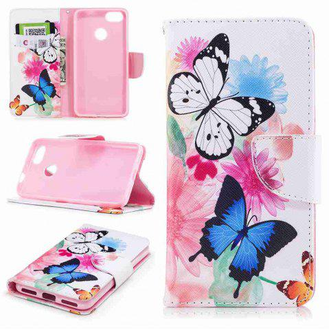 Fashion Two Butterflies Painted PU Phone Case for HUAWEI P9 Lite Mini / Y6 Pro 2017