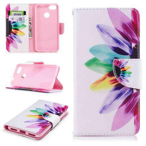 Chic Colorful Flower Painted PU Phone Case for HUAWEI P9 Lite Mini / Y6 Pro 2017