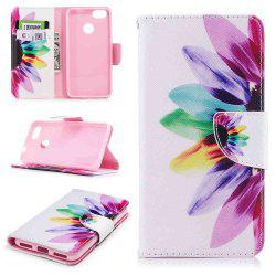 Colorful Flower Painted PU Phone Case for HUAWEI P9 Lite Mini / Y6 Pro 2017 -