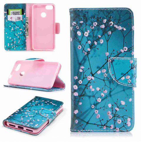 Best Plum Blossom Painted PU Phone Case for HUAWEI P9 Lite Mini / Y6 Pro 2017