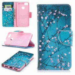 Plum Blossom Painted PU Phone Case for HUAWEI P9 Lite Mini / Y6 Pro 2017 -