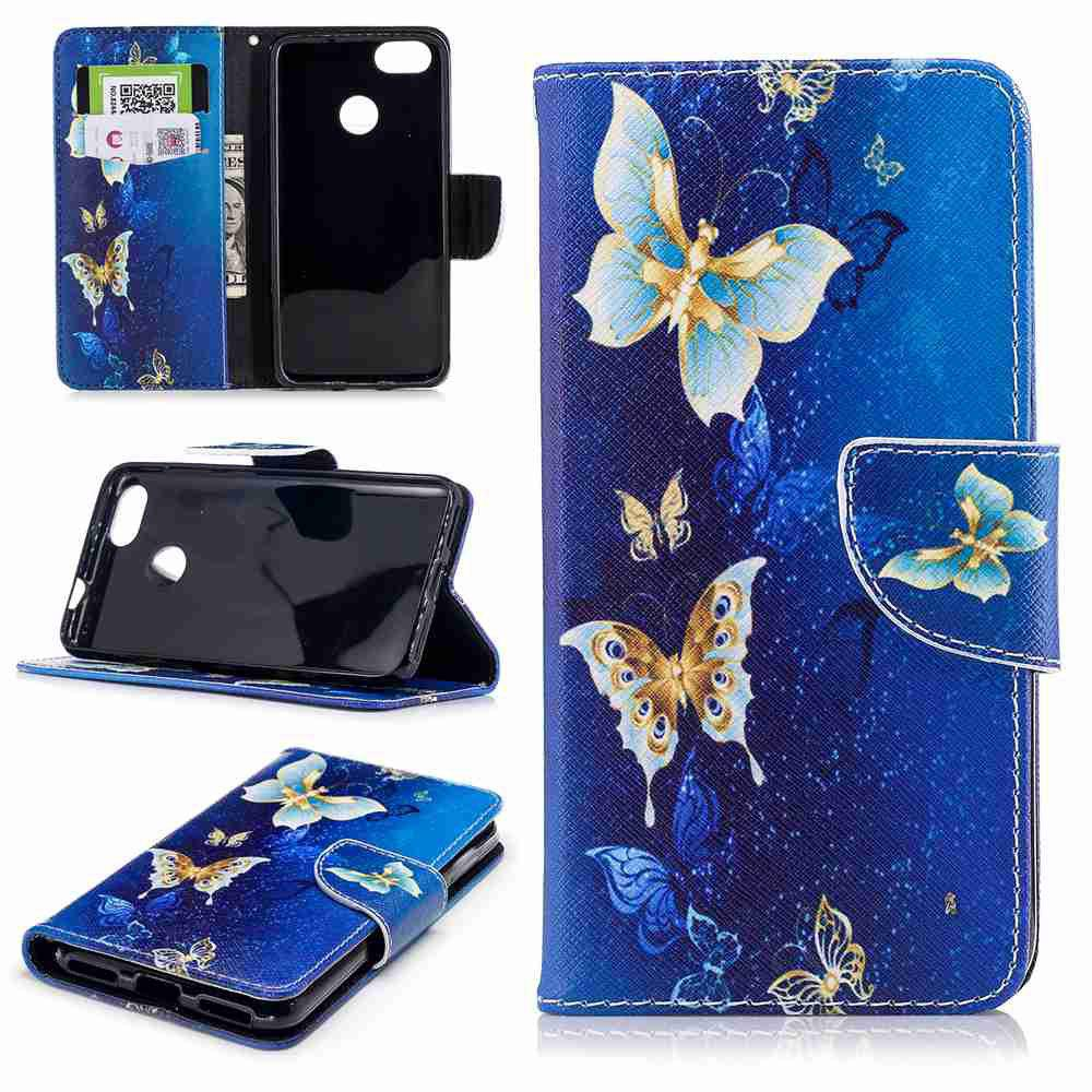 Outfit Yellow Butterfly Painted PU Phone Case for HUAWEI P9 Lite Mini / Y6 Pro 2017