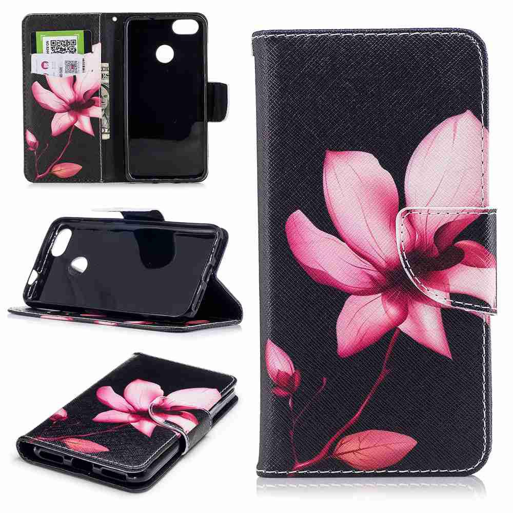 Online Flower Painted PU Phone Case for HUAWEI P9 Lite Mini / Y6 Pro 2017