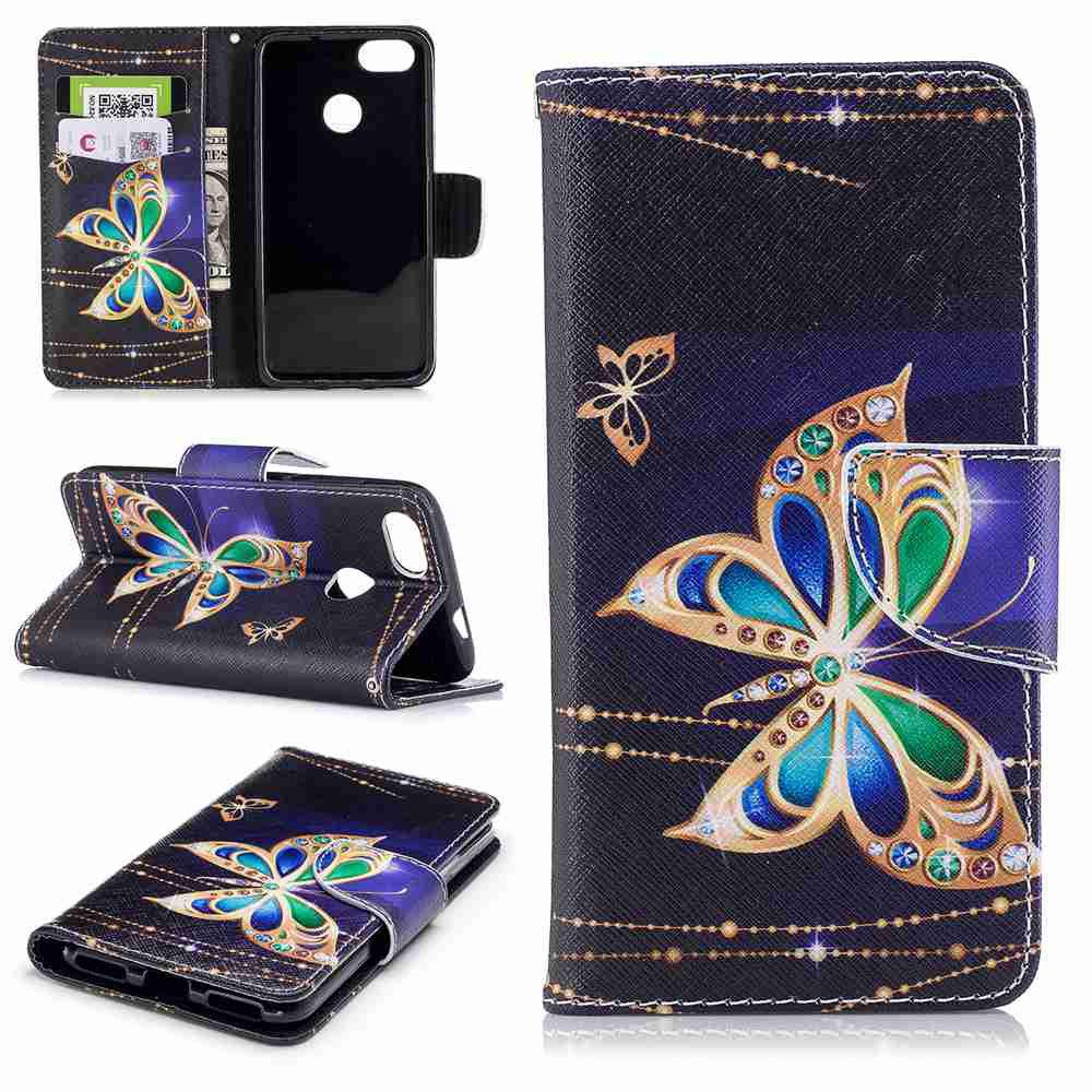 Big Butterfly Painted PU Phone Case для HUAWEI P9 Lite Mini / Y6 Pro 2017