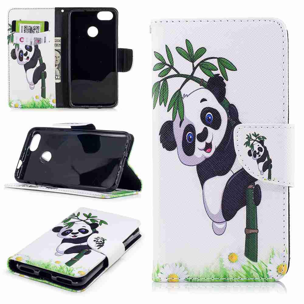 Chic Panda Bamboo Painted PU Phone Case for HUAWEI P9 Lite Mini / Y6 Pro 2017