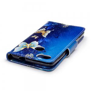 Gold Butterfly Painted PU Phone Case for HUAWEI P9 Lite Mini / Y6 Pro 2017 -