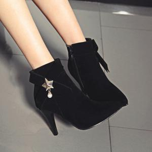 Women Shoes Spike Heels Pointed Toe Pearl Zip Fashion Boots -