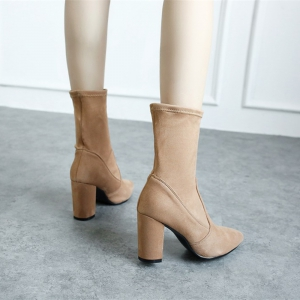 Women Shoes Concise Pointed Toe Chunky Heel Mid-Calf Boots -