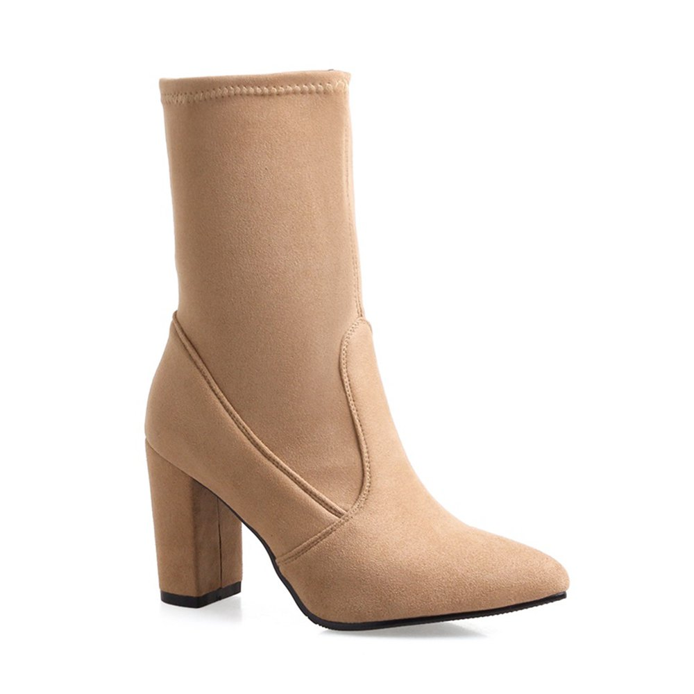 Hot Women Shoes Concise Pointed Toe Chunky Heel Mid-Calf Boots