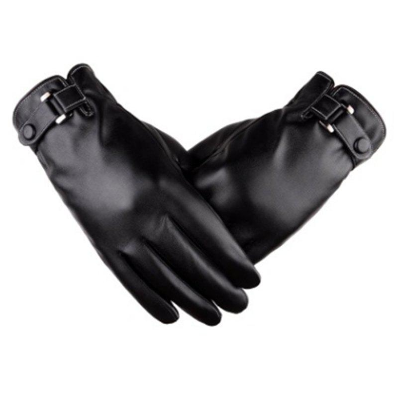 Affordable Touch Screen Men Gloves Simulation Water Skin Gloves in Winter PU Cashmere and Thickening Fashion Winter Thin