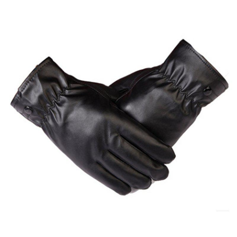 Fashion Winter Men's PU Gloves Velvet Thickening Heating Outdoor Cold Proof and Waterproof Motorcycle Riding Gloves