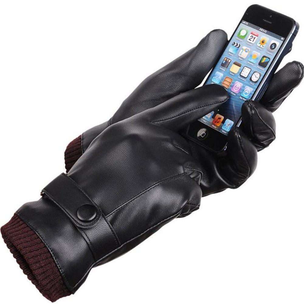 Shop Men's Pu Leather Gloves Fashion Brand Real Sheepskin Touch Screen Gloves Button Winter Warm Mittens KP015