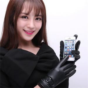 Women's Pu Leather Gloves Fashion Brand Real Sheepskin Touch Screen Gloves Button Winter Warm Mittens KP015 -