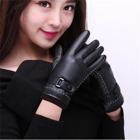 Chic Women's Pu Leather Gloves Fashion Brand Real Sheepskin Touch Screen Gloves Button Winter Warm Mittens KP015