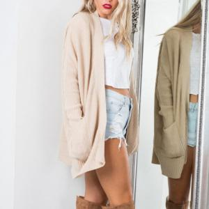 Open Cardigan With Pocket Knit -