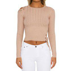 Slim Lace Up Pullover Sweater -