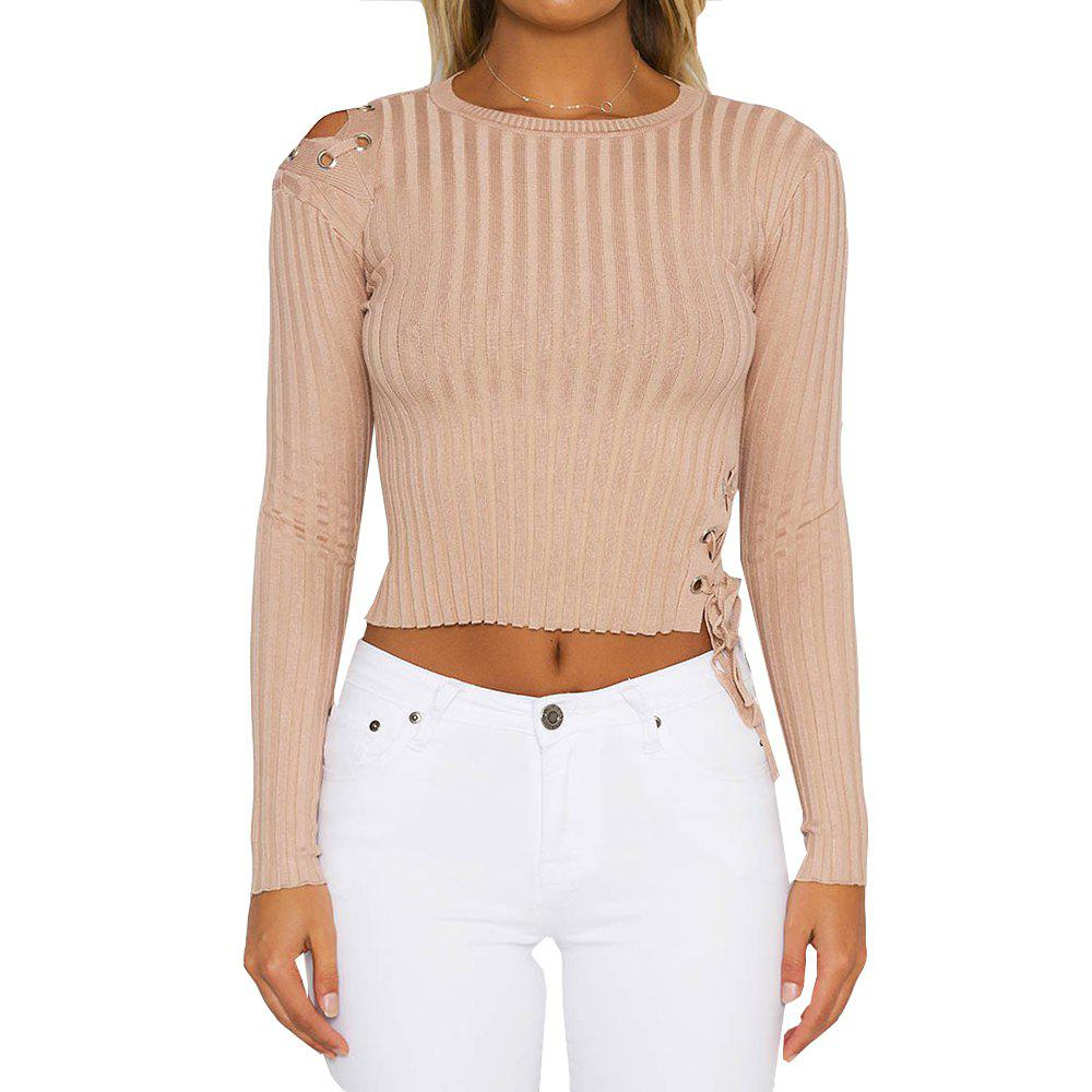 Hot Slim Lace Up Pullover Sweater